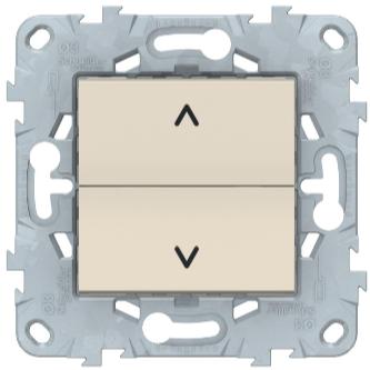 Выключатель для жалюзи, 2-клавишный кнопочный, Беж, Schneider Electric Unica Studio New
