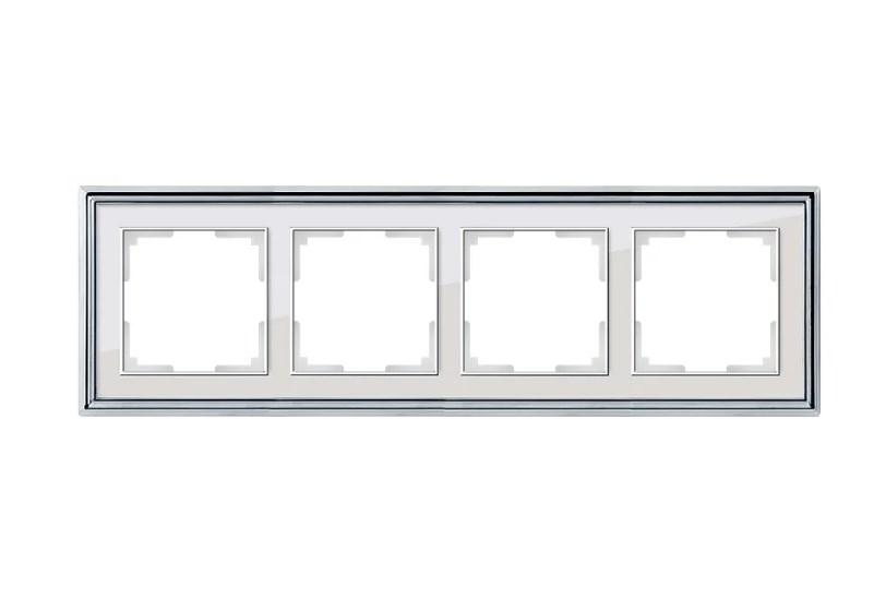 WL17-Frame-04/ Рамка на 4 поста (хром/белый)