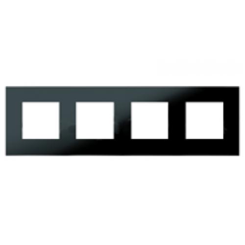 Рамка 4 поста (8 модулей) ABB Zenit Черное стекло
