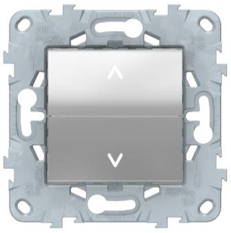 Выключатель для жалюзи 2-клавишный, кнопочный, Алюминий, Schneider Electric Unica Studio New