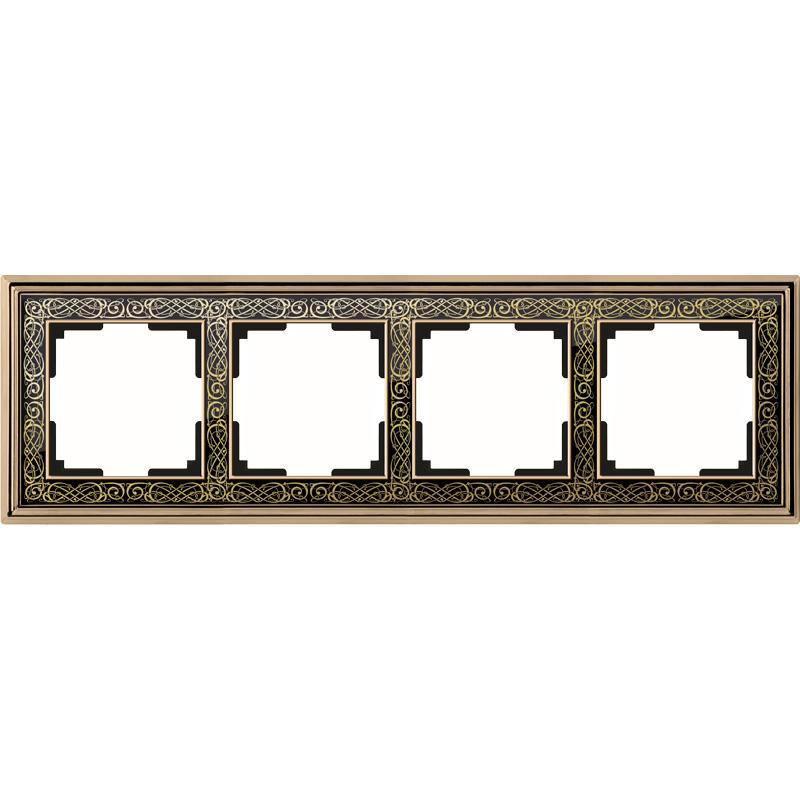 WL77-Frame-04/ Рамка на 4 поста (золото/черный)