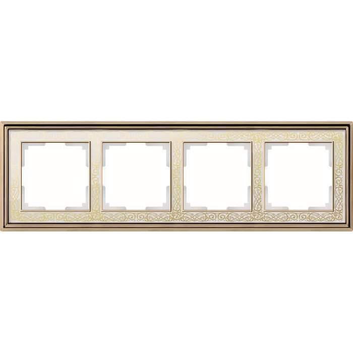 WL77-Frame-04/ Рамка на 4 поста (золото/белый)