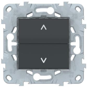 Выключатель для жалюзи, 2-клавишный, без фиксации,, Антрацит, Schneider Electric Unica Studio New