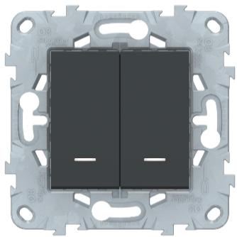Переключатель 2-клавишный с подсветкой, Антрацит, Schneider Electric Unica Studio New