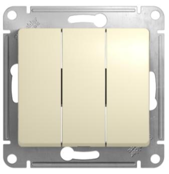 Выключатель 3-клавишный, Бежевый, Schneider Glossa