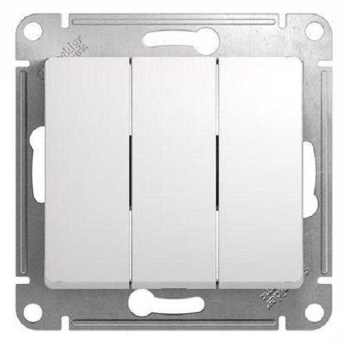 Выключатель 3-клавишный, Белый, Schneider Glossa
