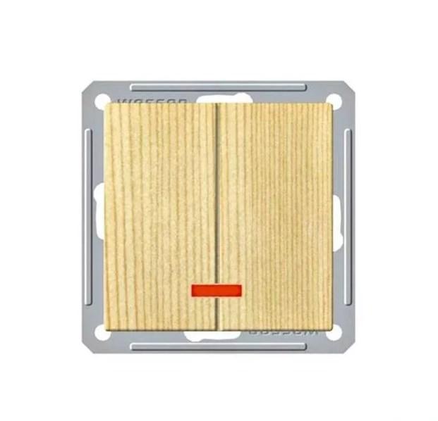 Выключатель Wessen 59 2-клавишный с подсветкой сосна