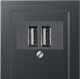 Розетка USB двойная для зарядки 2×700 мA Jung ECO Profi Антрацит