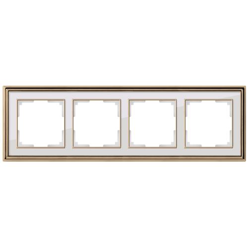 Рамка на 4 поста Werkel Palacio золото/белый