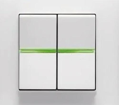 Выключатель 2кл с зеленой подсветкой ABB Niessen Zenit Белый
