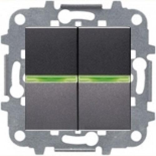 Выключатель 2кл с подсветкой ABB Niessen Zenit Антрацит