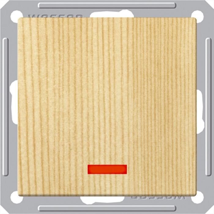 Выключатель Wessen 59 1-клавишный с подсветкой сосна