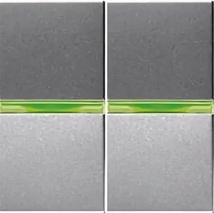 Выключатель 2кл с зеленой подсветкой ABB Niessen Zenit Серебро