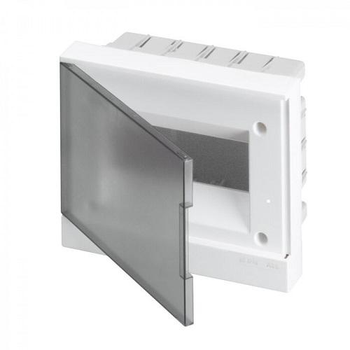 ABB Basic E Бокс в нишу 8М серая прозрачная дверь (c клеммами), 8 мод. IP40