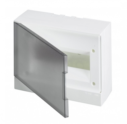 ABB Basic E Бокс настенный 12М серая прозрачная дверь (с клеммами), 12 мод. IP40