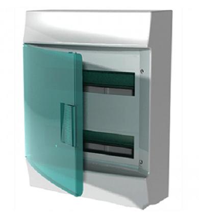 Бокс настенный АВВ Mistral41 36М (2х18) зелёная дверь с клеммным блоком