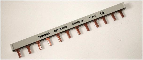 Шина-гребенка Legrand типа PIN (штырь), 12 модулей, 3P, 63A, 22см, серый