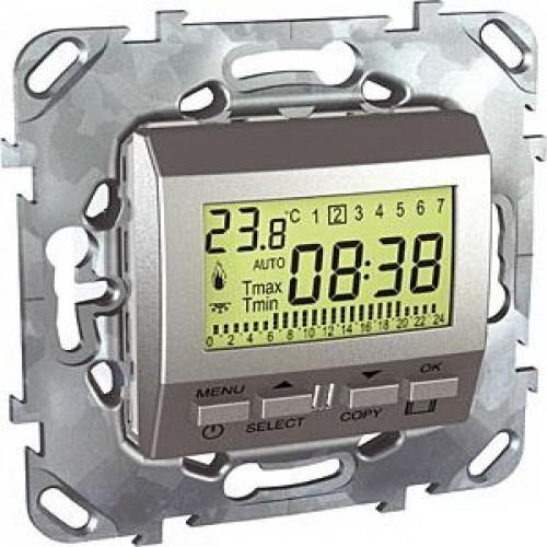 Термостат комнатный программируемый, Алюминий, серия UNICA TOP/CLASS, Schneider Electric