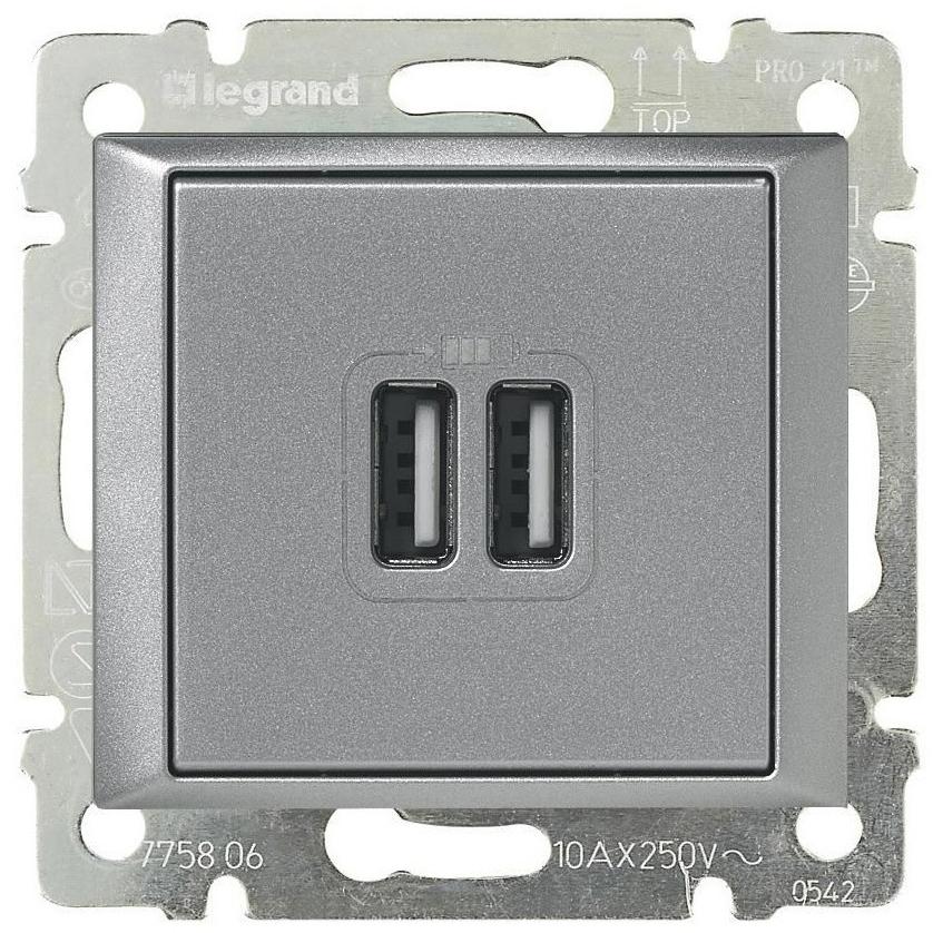 Розетка USB для зарядки двойная, алюминий 770270 LG