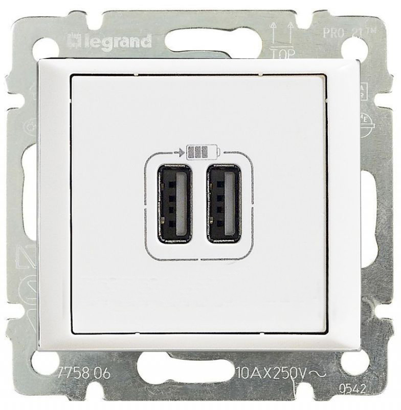 Розетка USB для зарядки двойная, белый 770470 LG