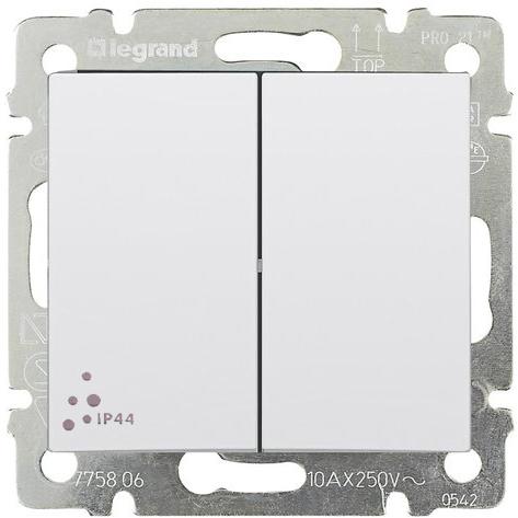 Выключатель 2-х клавишный с 2-х мест (переключатель) ip44, белый 770098 LG