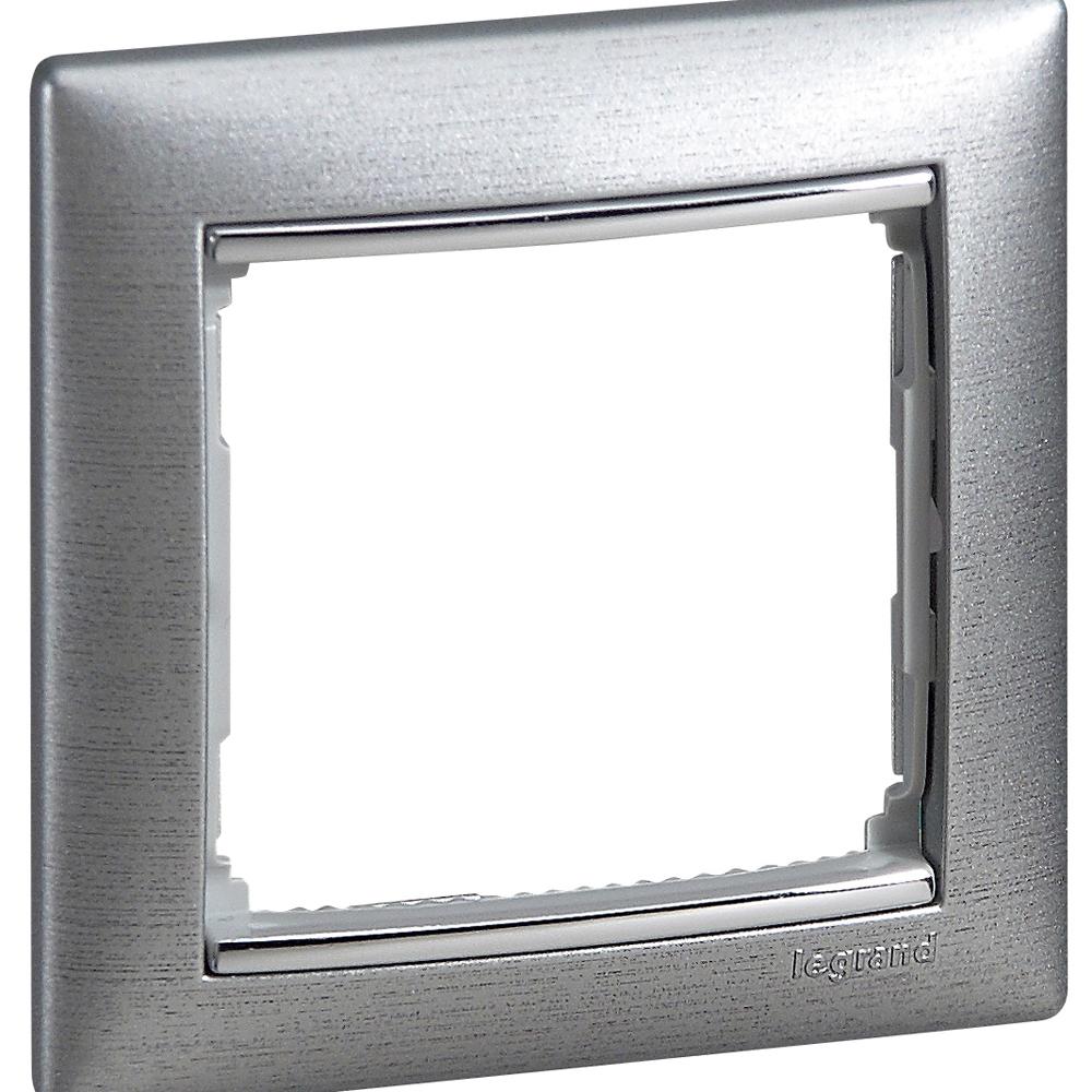 Рамка 1-я, алюминий матовый/серебряный штрих, универсальная 770331 LG