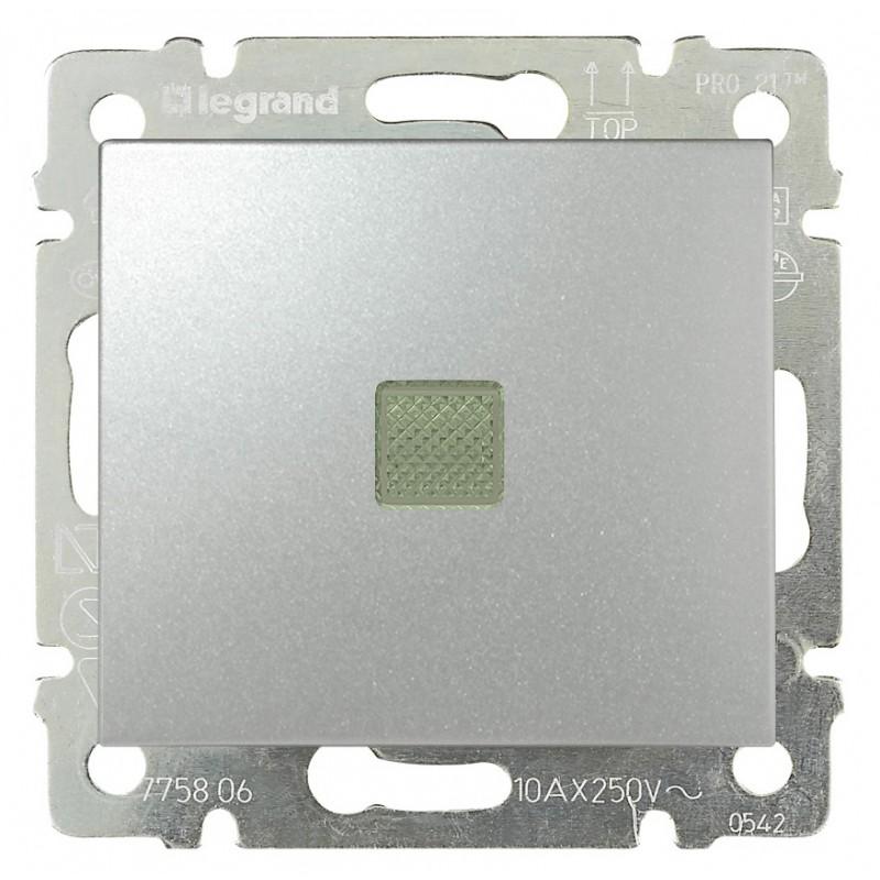 Выключатель 1-но клавишный с 2-х мест (переключатель) с подсветкой, алюминий 770126 LG
