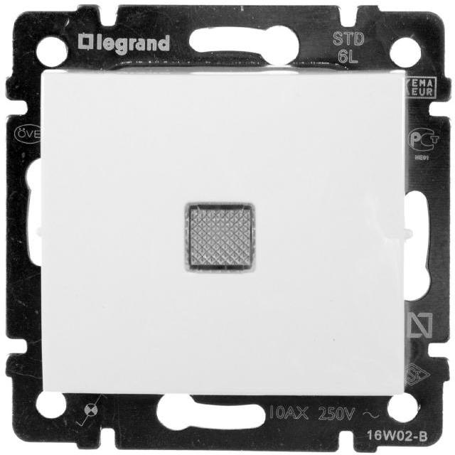 Выключатель 1-но клавишный с 2-х мест (переключатель) с подсветкой, белый 774426 LG