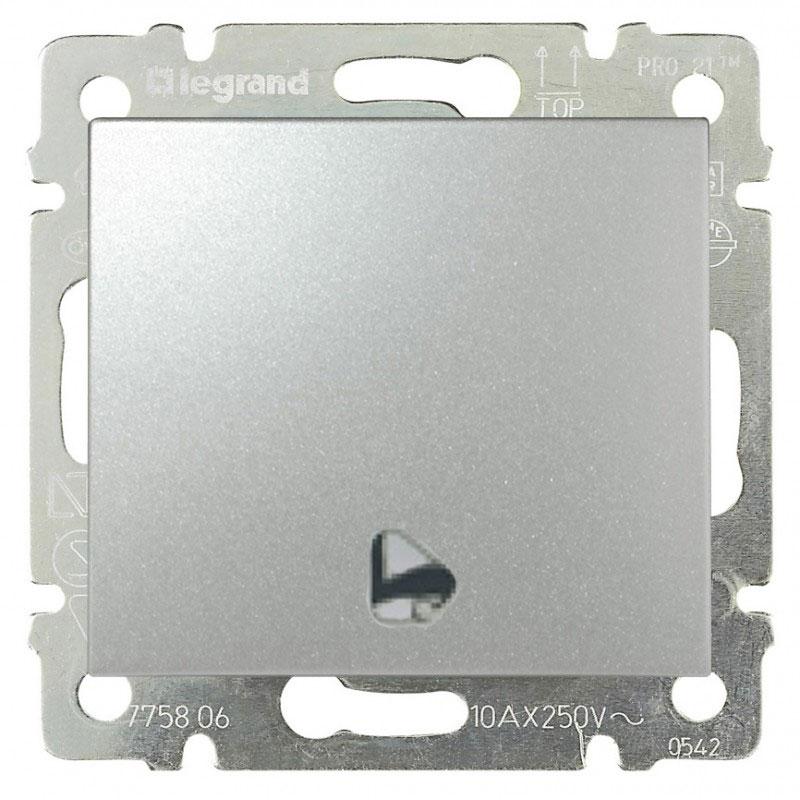 Кнопка 1-но клавишная 1но с символом звонок, алюминий 770216 LG