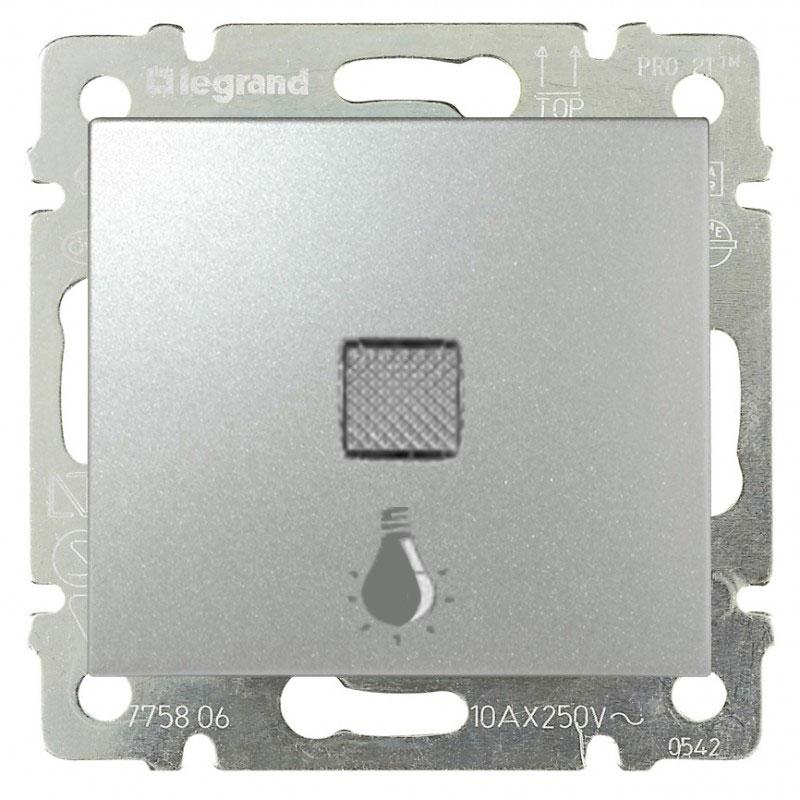 Кнопка 1-но клавишная 1но с символом свет с подсветкой, алюминий 770113 LG