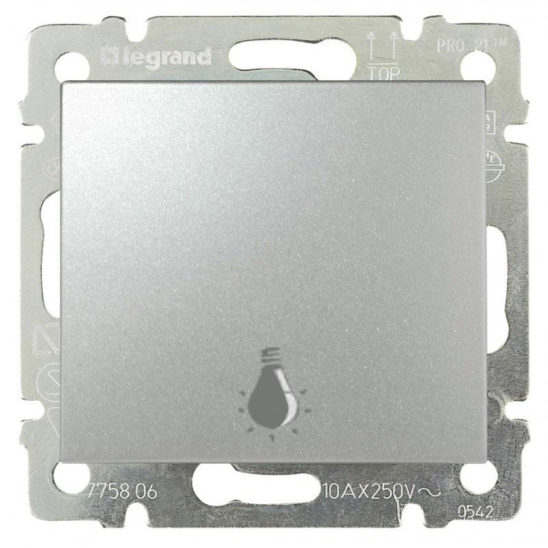 Кнопка 1-но клавишная 1но с символом свет, алюминий 770112 LG