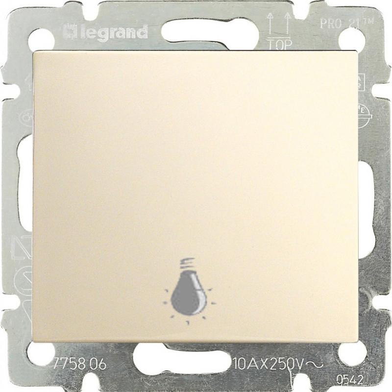 Кнопка 1-но клавишная 1но с символом свет, слоновая кость 774312 LG