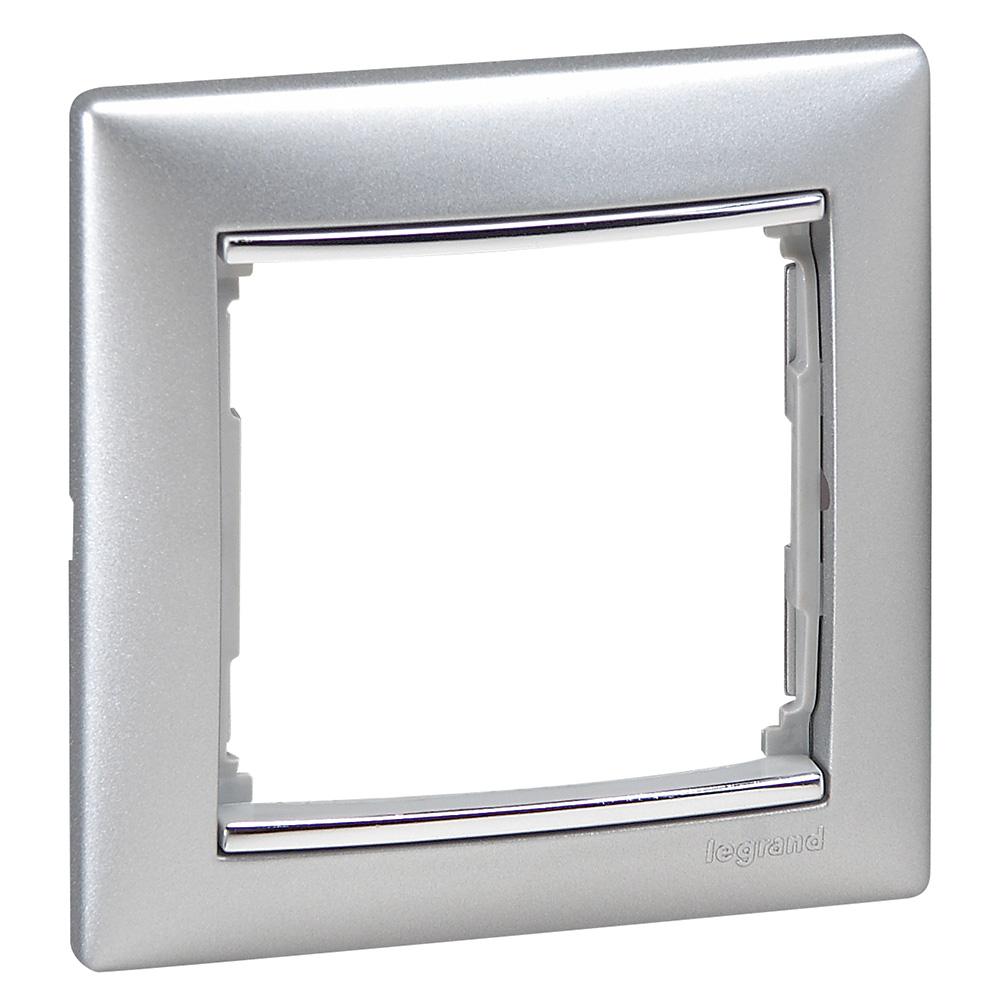 Рамка 1-я, алюминий/серебряный штрих, универсальная 770351 LG