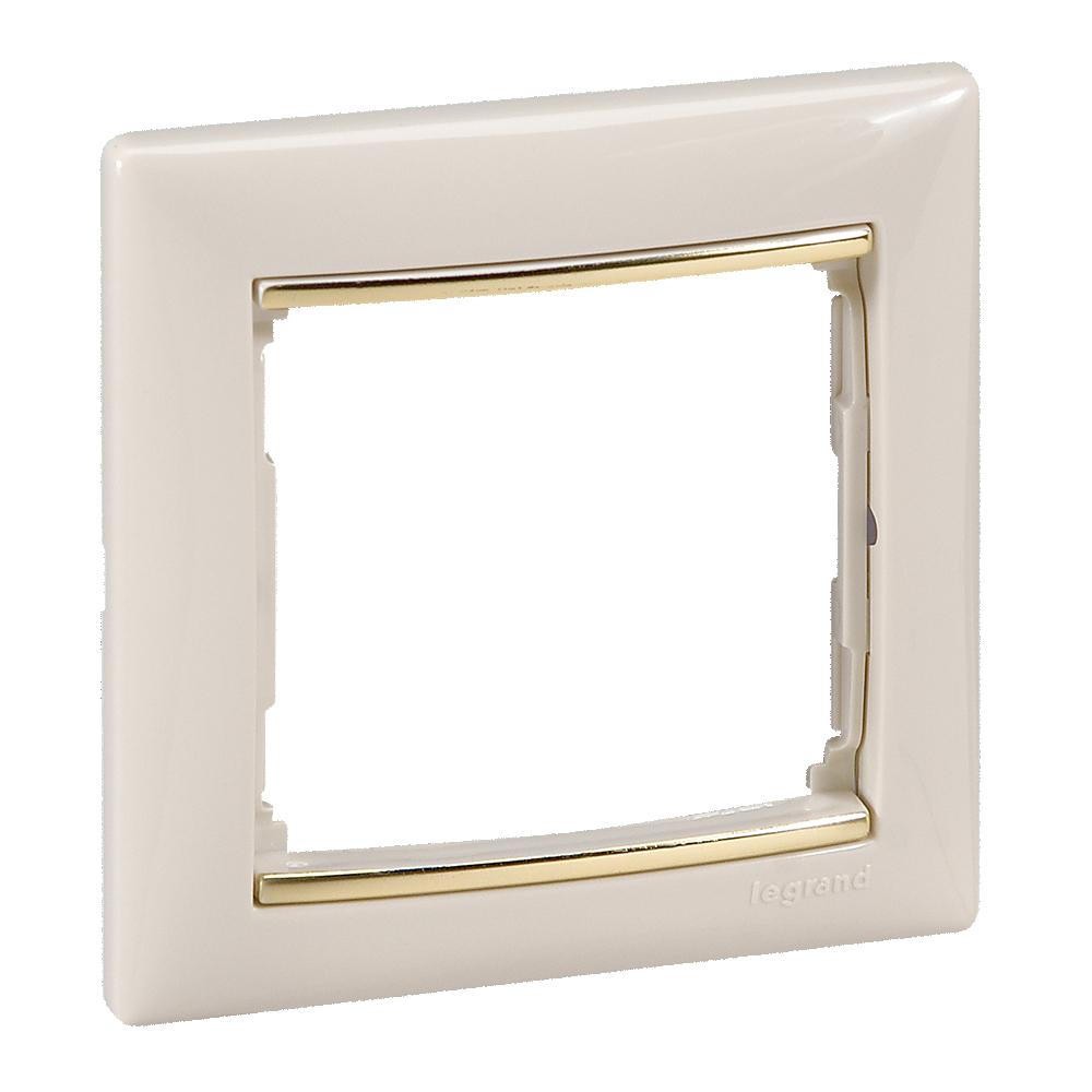 Рамка 1-я, слоновая кость/золотой штрих, универсальная 774151 LG