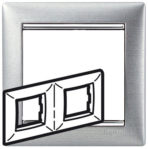 Рамка 2-я, алюминий матовый/серебряный штрих, универсальная 770332 LG