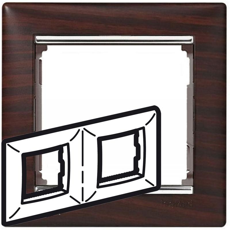 Рамка 2-я, тёмное дерево/серебряный штрих, универсальная 770372 LG
