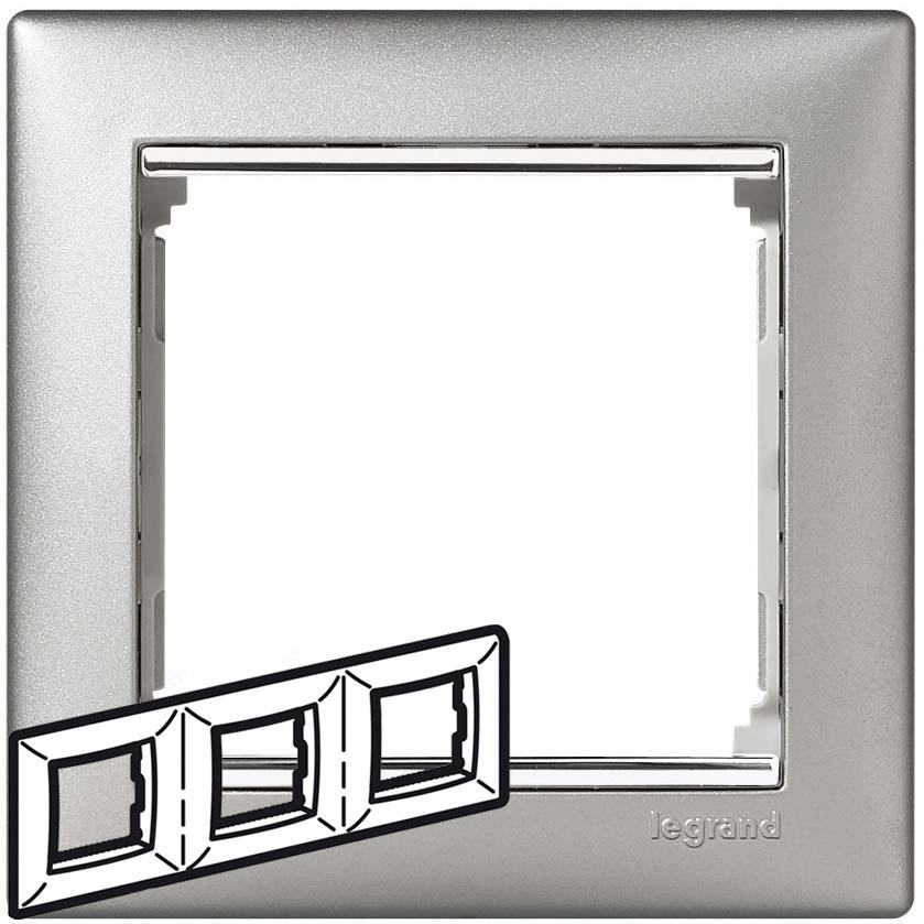 Рамка 3-я, алюминий/серебряный штрих, универсальная 770353 LG