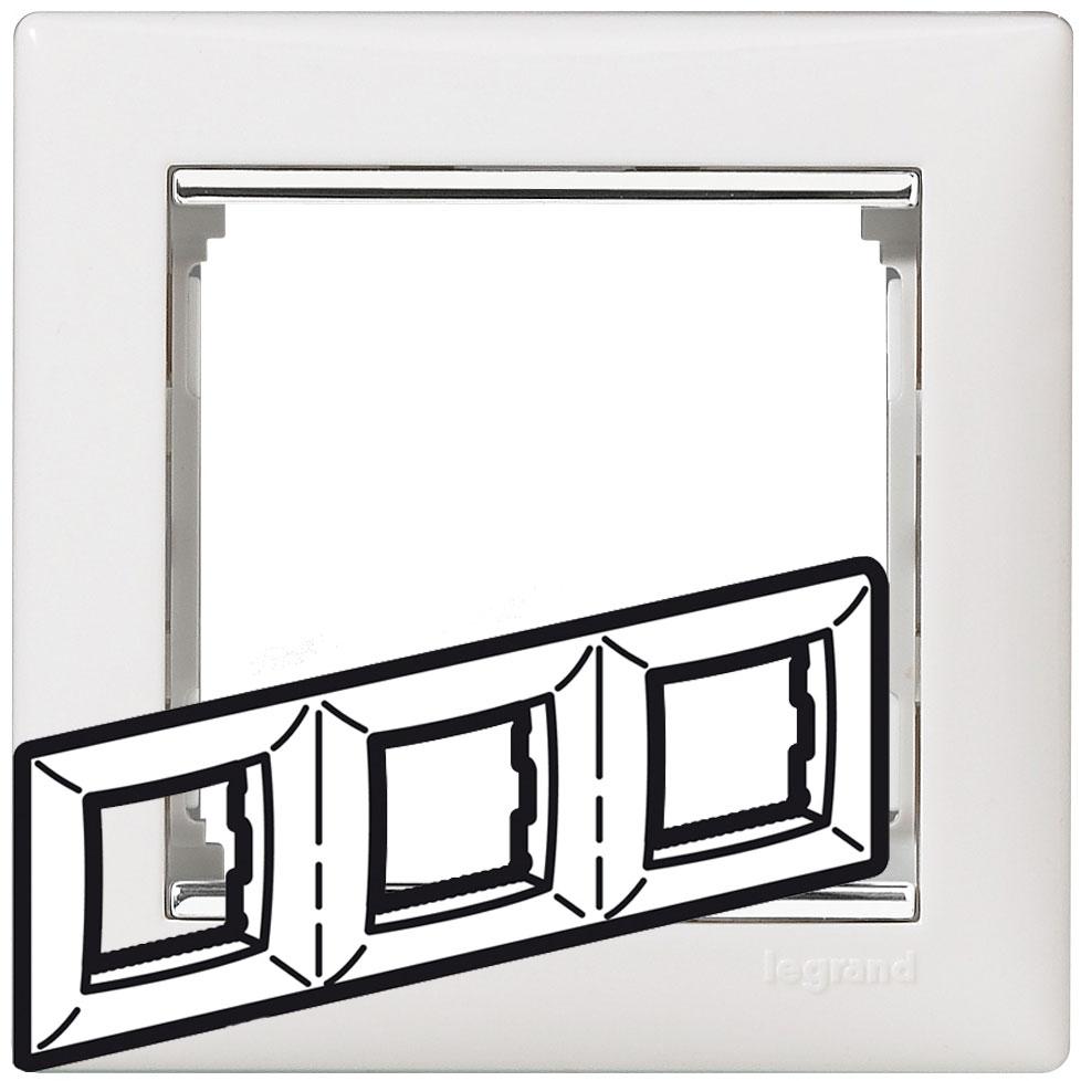 Рамка 3-я, белый/серебряный штрих, универсальная 770493 LG