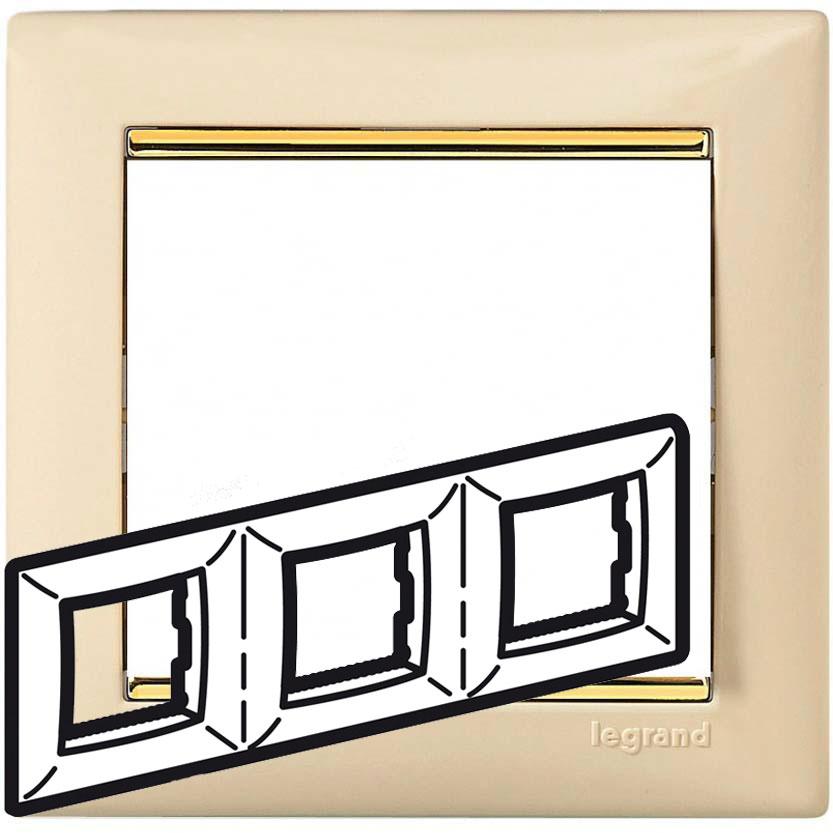 Рамка 3-я, слоновая кость/золотой штрих, универсальная 774153 LG