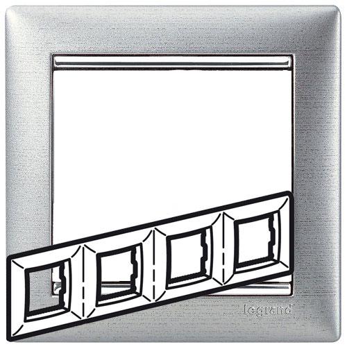 Рамка 4-я, алюминий матовый/серебряный штрих, универсальная 770334 LG