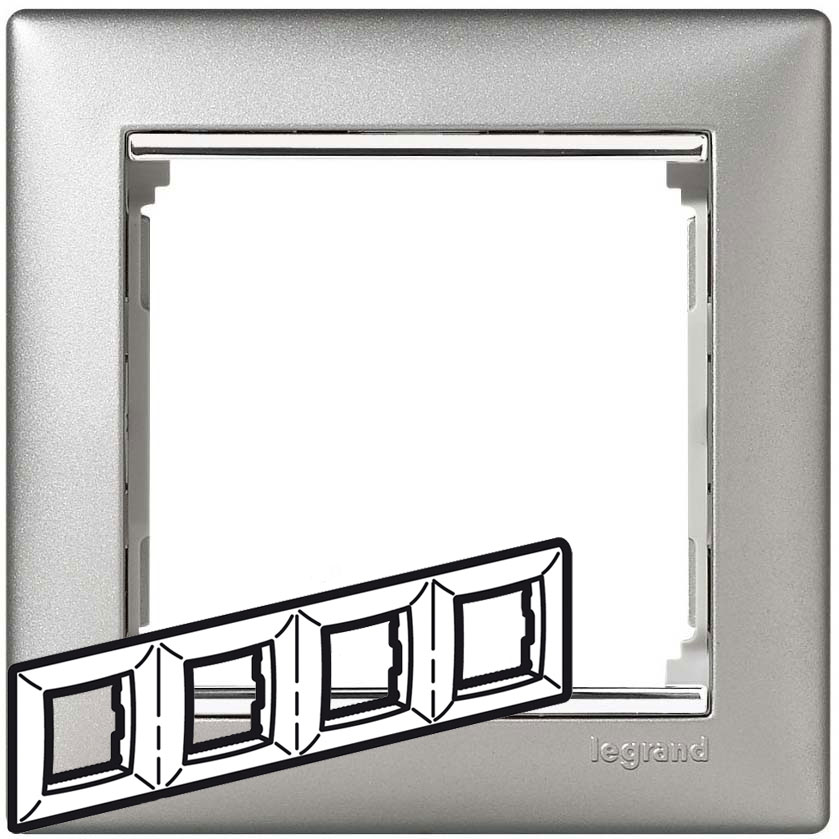 Рамка 4-я, алюминий/серебряный штрих, универсальная 770354 LG