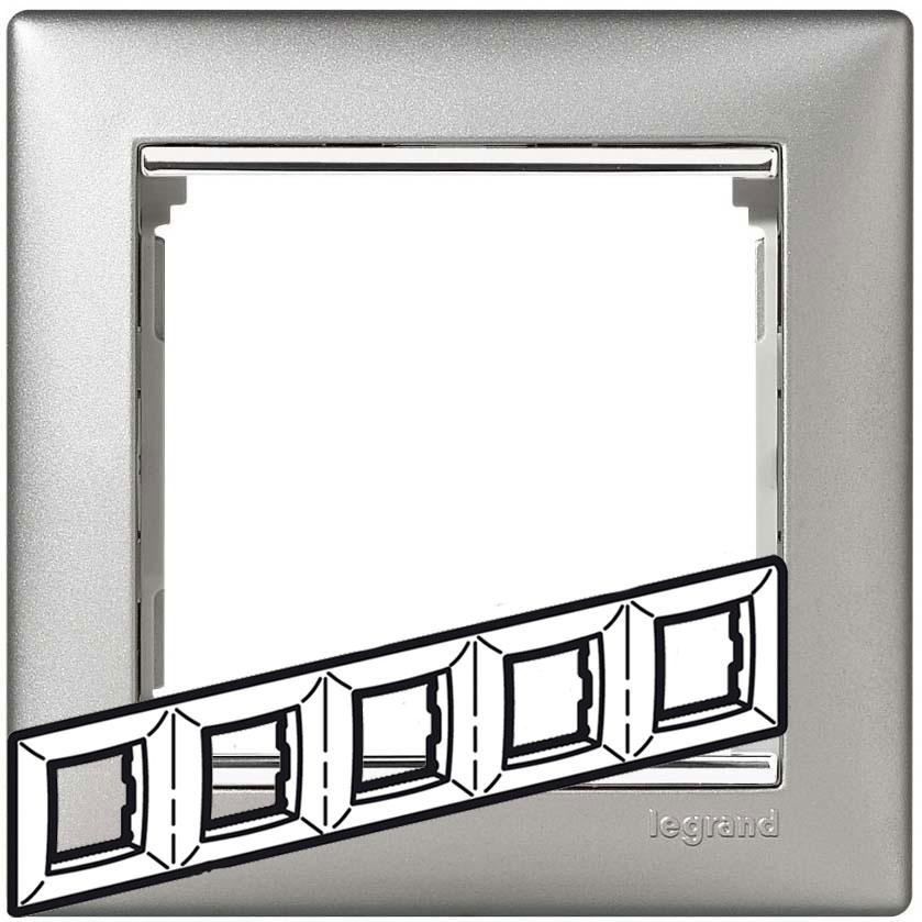 Рамка 5-я, алюминий/серебряный штрих, универсальная 770355 LG