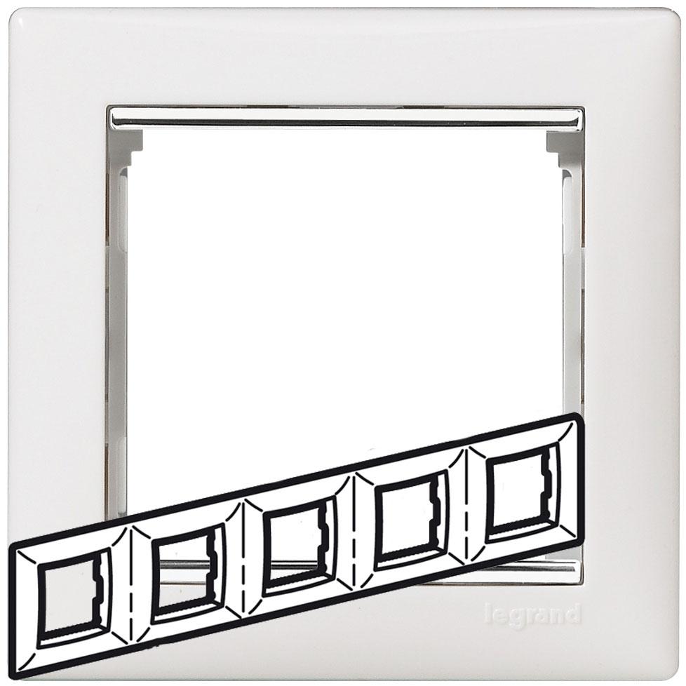 Рамка 5-я, белый/серебряный штрих, универсальная 770495 LG