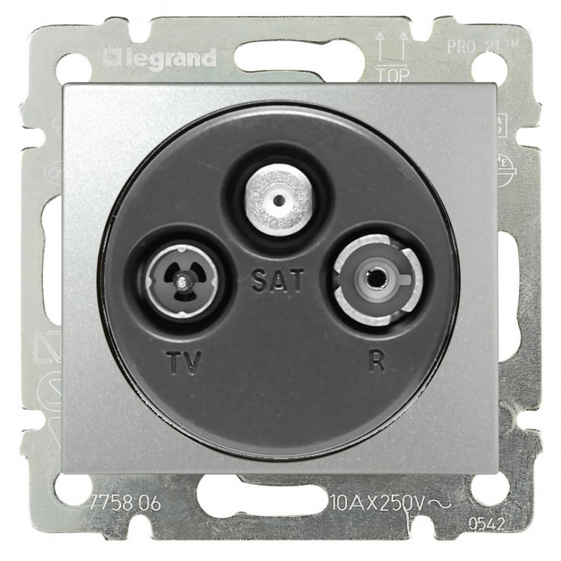 Розетка TV-RD-SAT проходная, алюминий 770137 LG