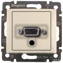 Розетка VGA HD15 мама + мини-джек 3.5мм, слоновая кость 774182 LG