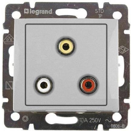 Розетка мультимедийная Audio RCA тюльпан тройной разъём, с переходником, алюминий 770284 LG