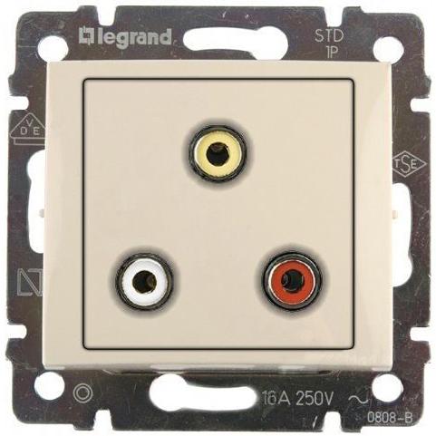 Розетка мультимедийная Audio RCA тюльпан тройной разъём, с переходником, слоновая кость 774184 LG