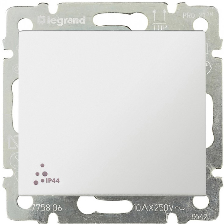Выключатель 1-но клавишный ip44, белый 774201 LG