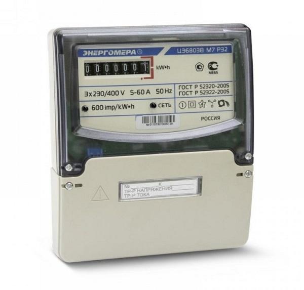 Счетчик Энергомера трехфазный ЦЭ6803В 1 230В 5-60А 3ф.4пр. М7 Р32