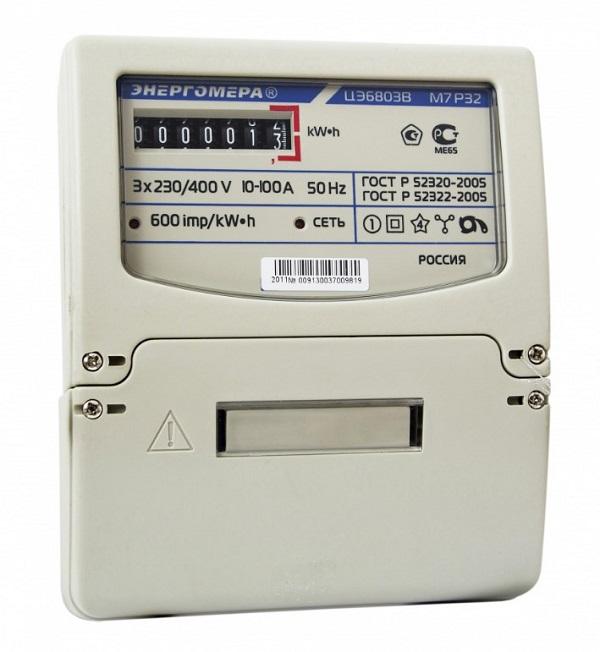 Счетчик Энергомера трехфазный ЦЭ6803В 1 230В 10-100А 3ф.4пр. М7 Р32